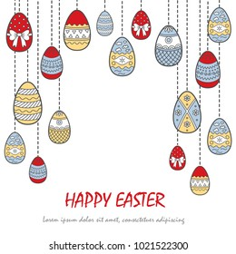 Background of Easter Eggs. Flat style. Vector illustration.