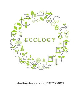 Background with ecology icons. Recycling ecological design concept.