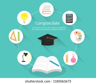 Background Education Concepts.  Open book for knowledge. The knowledge that leads to success in education. Vector illustrations flat design.