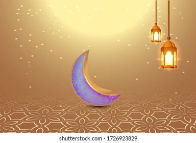 background of Eid al-Fitr with lights and crescent moon, gold color