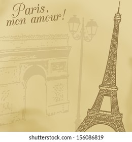 A background with Eiffel tower and Arc de triumph in retro style, vector illustration