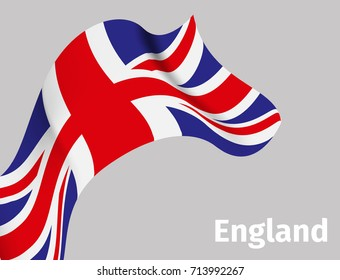 Background with England wavy flag on grey, vector illustration
