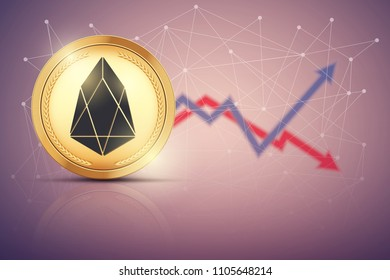 Background of EOS exchange trading. Time to market trading. Profit and loss. Editable Vector Illustration