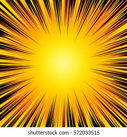 Background with explosion or hyperspeed warp sun rays. Bright black orange yellow light strip burst. Flash ray blast. Manga speed frame. Explosive vector illustration. EPS 10.