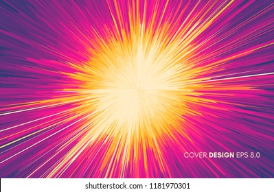 Background with explosion. Starburst dynamic lines. Solar or starlight emission. 3d futuristic technology style. Vector illustration.