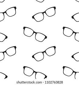 Background with eyeglasses. Vector glasses. Seamless patern with glasses.