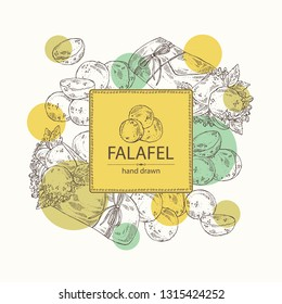 Background with falafel in pita with vegetables: falafel, pita, tomato, lettuce and olives. Vegetarian fast food. Vector hand drawn illustration