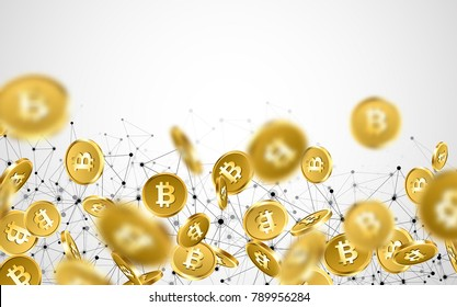 Background with falling gold bitcoins and network pattern. Vector money illustration.