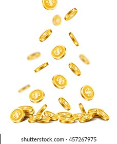 Background with falling golden coins isolated on a white background.