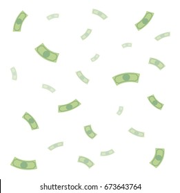 Background of falling money, rain of money, dollars, flat cartoon style
