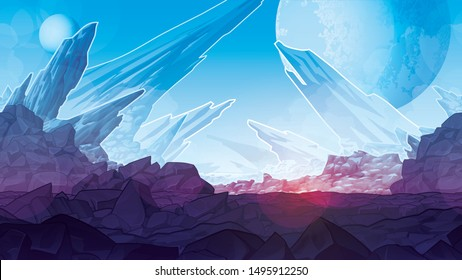 Background of fantastic mountain landscape. Background of stone planet. Horizontal tiles. Parallax ready. For use in developing, prototyping  adventure, side-scrolling games or apps.
