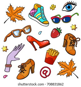 Background with fashion patch badges. Shoes, footwear, autumn maple leaves, sunglasses, spectacles, glove, eye, strawberry and other. Comic book style vector illustration, stickers, pins, patches