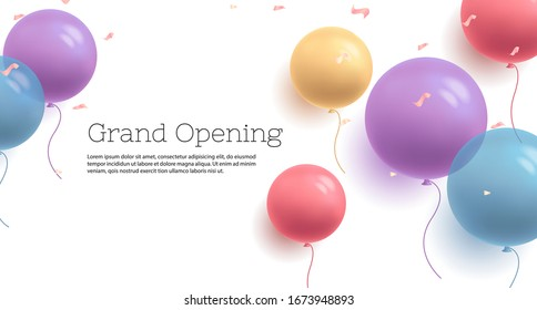 Background with fastive air balloons of round shape and confetti, multicoloured with grand opening text banner