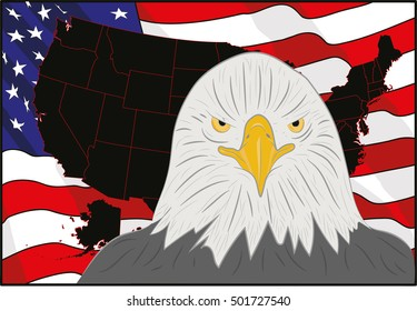 A background featuring American eagle and stars and stripes background. on the  of the independence of America. vector illustration