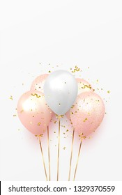 Background with festive realistic balloons with ribbon. Celebration design with baloon, color pink and white, studded with gold sparkles and glitter confetti. Celebrate birthday vector template