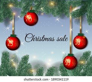 background with fir branches and balls