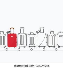 background flat design style with space for text. black line or outline bag. contour modern suitcase on conveyor belt. Baggage claim at terminal airport vector travel bags & one red simple luggage