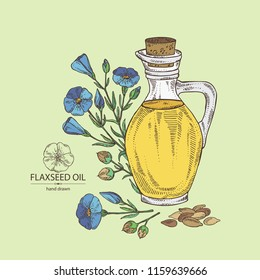 Background with flax and flax oil: plant, seeds, flowers and bottle of flax oil. Vector hand drawn illustration