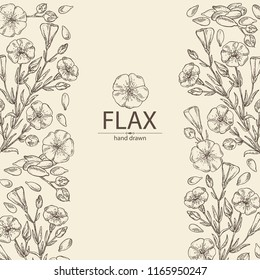 Background with flax plant seeds and flowers. Vector hand drawn illustration.