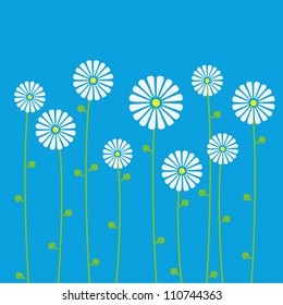 Background of floral pattern with daisies. Vector illustration.