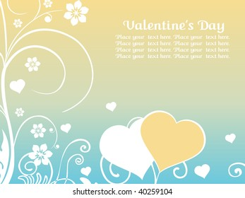 background with floral pattern and set of hearts
