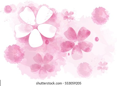 Background from flying pink flowers