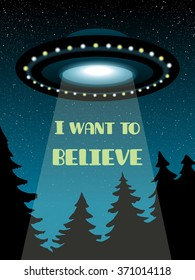 Background with flying UFO, star sky and black forest.