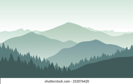 Background with foggy green mountains. Vector illustration.