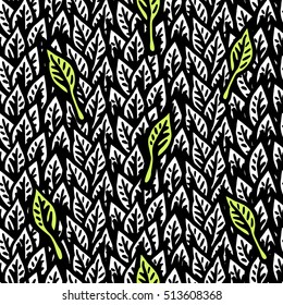 Background of foliage. Seamless vector pattern of leaves