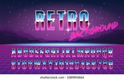 Background and font in style arcades the 80s. Music poster template. Vector illustration.