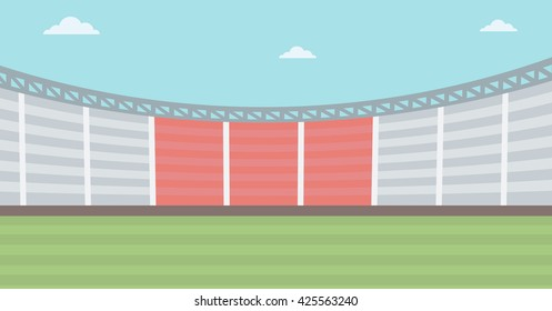 Background of football stadium vector flat design illustration. Horizontal layout.