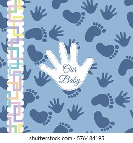 Background with footprint and handprints pattern. Vector illustration. Cover, photo album, wallpaper, flyers, invitation, posters, brochure, banners. EPS10 Vector illustration. Baby pattern.