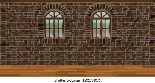 Background in the form of an interior room without furniture with a stone wall and wooden floor.
