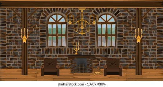 background in the form of a large living room with brick walls with fireplace armchairs and windows in antique style