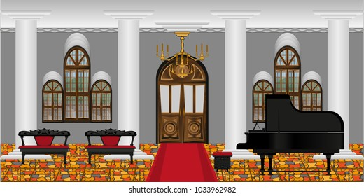 Background in the form of a spacious living room or a concert hall with columns and a grand piano