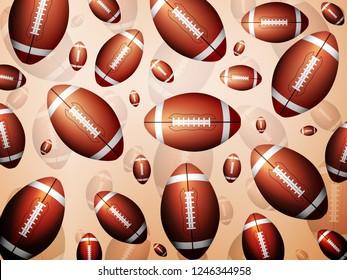 Background formed by football balls. Vector illustration.