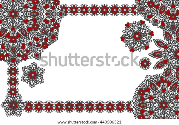 Background with frame of abstract patterns. Vector illustration.
