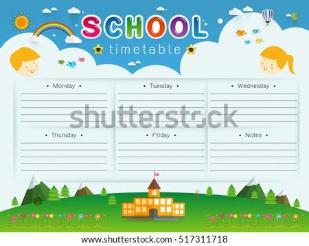 background frame design school timetable schedule weekly のベクター