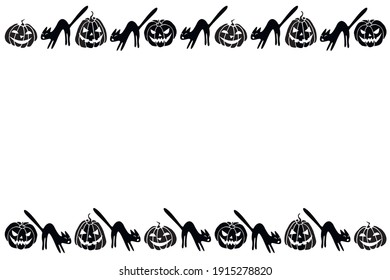 Background, frame for Halloween. Horizontal top and bottom edging, border of festive characters - Jack lantern, pumpkin, black cat. Background for greeting card, invitation, party poster, banner