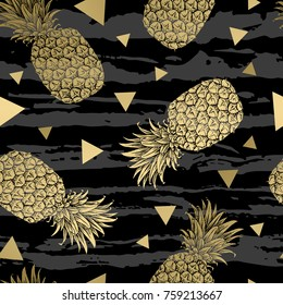 Background with fresh exotic fruits gold pineapple, hand drawn icons. Colorful wallpaper vector. Seamless pattern, decorative illustration.