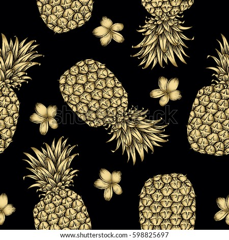 Background With Fresh Exotic Fruits Gold Pineapple Plumeria Hand Drawn Icons Colorful Wallpaper
