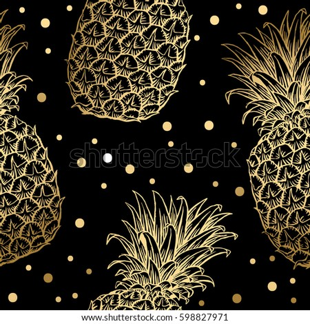 Background With Fresh Exotic Fruits Gold Pineapple Hand Drawn Icons Colorful Wallpaper Vector