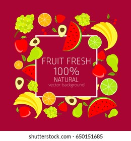 Background with fresh, organic and  healthy vegetables, vector