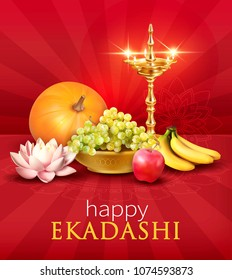 Background with fruits and diya for Ekadashi – Hindu festival and fasting day by lunar calendar. Vector illustration.