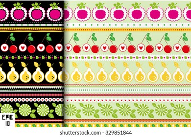 Background with fruits flat.