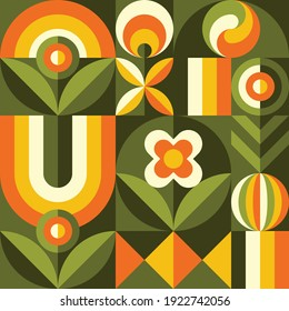 Background fruits, flowers and green leaves nature. Abstract geometric seamless pattern. Decorative ornament in flat design style. Ripe harvest banner. Floral backdrop. Organic vegetables product.