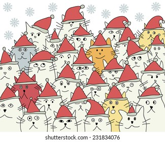 Background with funny cartoon cats in Christmas hats. Vector illustration
