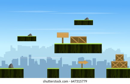 Background game with city scenery