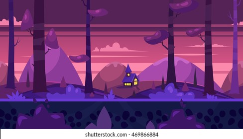 Background for games apps or mobile development.Cartoon nature landscape. Night forest with house. Vector illustration for design graphics print or book . Stock illustration.