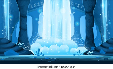Background for games and mobile applications. Cartoon night cave with a big waterfall seamless landscape, vector background with separated layers.
